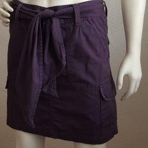 Eddie Bauer plum purple tie cargo skirt